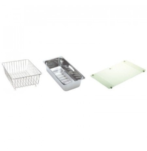 Carron Phoenix Bali 150 Accessory Pack Includes Glass Chopping Board, Wire Basket & Strainer Bowl - 112.0067.976 CAR1090
