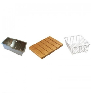 Carron Phoenix Vela 150 Accessory Pack Includes Bamboo Chopping Board, Wire Basket & Strainer Bowl - 112.0167.959 CAR1096