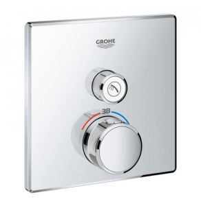 Grohe Grohtherm SmartControl Thermostatic Thermostat for Concealed Installation 1 Valve Square - Chrome 29123000 29123000