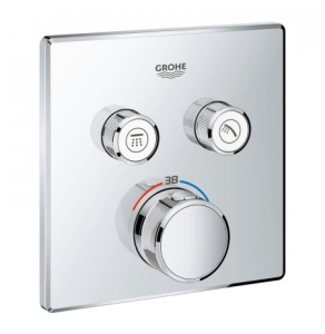 Grohe Grohtherm SmartControl Thermostat for Concealed Installation 2 Valves Square - Chrome 29124000 29124000