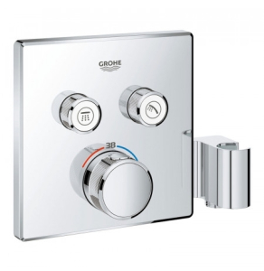 Grohe Grohtherm SmartControl Thermostat for Concealed Installation 2 Valves Square with Integrated Shower Holder - Chrome 29125000 29125000