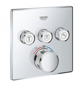 Grohe Grohtherm SmartControl Thermostat for Concealed Installation 3 Valves Square - Chrome 29126000 29126000