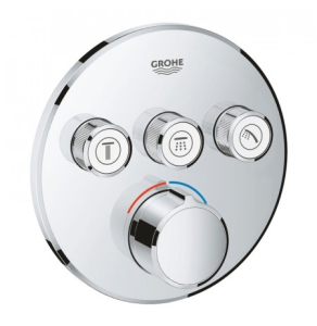 Grohe Grohtherm SmartControl Round Concealed Mixer Trimset 3 Valve - Chrome - 29146000 29146000