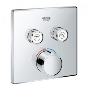 Grohe Grohtherm SmartControl Square Concealed Mixer Trimset 2 Valve - Chrome - 29148000 29148000