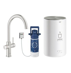 Grohe Red 2.0 Duo Instant Boiling Water Kitchen Tap and M Size Boiler - SuperSteel - 30058DC1 30058DC1
