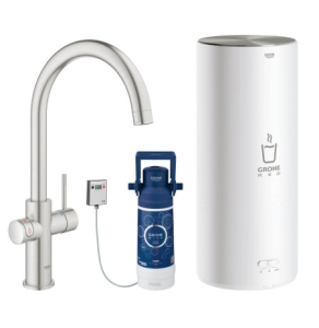 Grohe Red II Duo C Spout Tap & L Size Boiler Super Steel 30328DC1 30328DC1