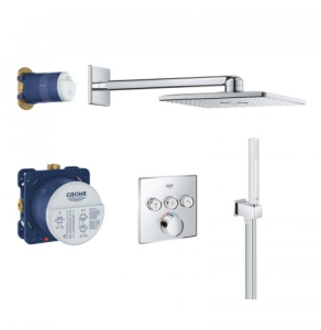 Grohe Grohtherm SmartControl Perfect Square Shower Set with 3 Valve - Chrome - 34712000 34712000
