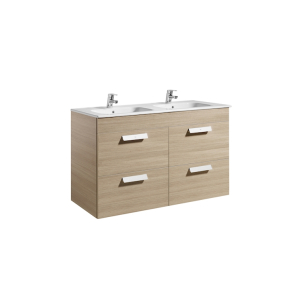 Roca Debba Unik Vanity Unit With Four Drawers And Oval Double Bowl Basin In Textured Oak RO10646