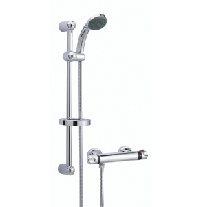 Nuie Complete Showers Chrome Contemporary Thermostatic Bar Shower With Kit - A3910 A3910
