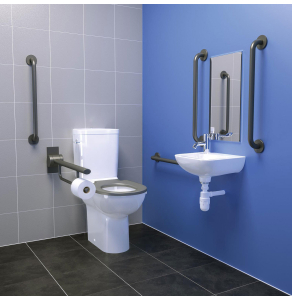 Armitage Shanks Contour 21 Doc M Pack with Close Coupled Toilet and Blue Rail - Right Handed AS10247