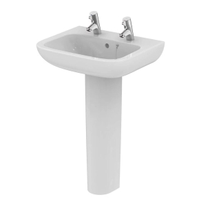 Armitage Shanks Portman 21 Basin with Full Pedestal 550mm Wide - 2 Tap hole AS10067