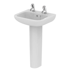 Armitage Shanks Portman 21 Basin with Full Pedestal 500mm Wide - 2 Tap hole AS10053