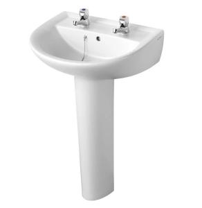 Armitage Shanks Sandringham 21 Basin & Full Pedestal 550mm Wide 2 Tap Hole AS10010