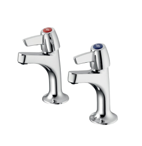 Armitage Shanks Sandringham 21 Kitchen Sink High Neck Pillar Taps with Levers - Chrome AS10143