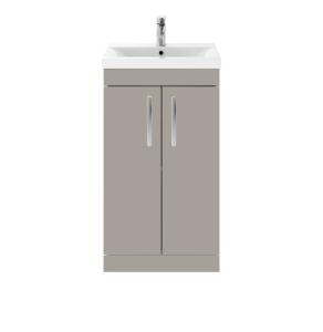 Nuie Athena Stone Grey Contemporary 500 Floor Standing 2-Door Vanity With Basin 1 - ATH007A ATH007A