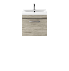 Nuie Athena Driftwood Contemporary 500 Wall Hung Single Drawer Vanity With Basin 2 - ATH008B ATH008B