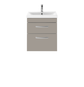 Nuie Athena Stone Grey Contemporary 500 Wall Hung 2-Drawer Vanity With Basin 1 - ATH021A ATH021A
