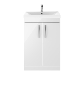Nuie Athena Gloss White Contemporary 600 Floor Standing 2-Door Vanity With Basin 2 - ATH027B ATH027B