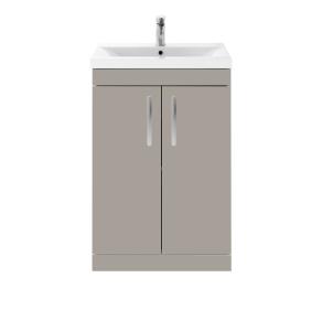 Nuie Athena Stone Grey Contemporary 600 Floor Standing 2-Door Vanity With Basin 2 - ATH028B ATH028B
