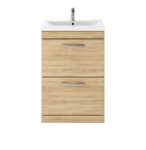 Nuie Athena Natural Oak Contemporary 600 Floor Standing 2-Drawer Vanity With Basin 1 - ATH031A ATH031A