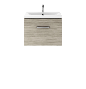 Nuie Athena Driftwood Contemporary 600 Wall Hung Single Drawer Vanity With Basin 2 - ATH036B ATH036B