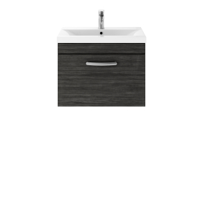 Nuie Athena Hacienda Black Contemporary 600 Wall Hung Single Drawer Vanity With Basin 1 - ATH040A ATH040A