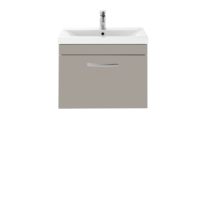 Nuie Athena Stone Grey Contemporary 600 Wall Hung Single Drawer Vanity With Basin 2 - ATH042B ATH042B