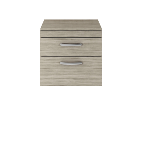 Nuie Athena Driftwood Contemporary 600 Wall Hung 2-Drawer Vanity With Worktop - ATH043W ATH043W