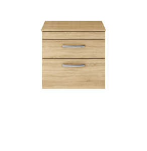 Nuie Athena Natural Oak Contemporary 600 Wall Hung 2-Drawer Vanity With Worktop - ATH045W ATH045W