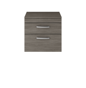 Nuie Athena Brown Grey Avola Contemporary 600 Wall Hung 2-Drawer Vanity With Worktop - ATH046W ATH046W