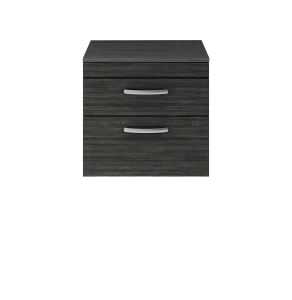 Nuie Athena Hacienda Black Contemporary 600 Wall Hung 2-Drawer Vanity With Worktop - ATH047W ATH047W