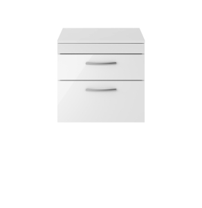 Nuie Athena Gloss White Contemporary 600 Wall Hung 2-Drawer Vanity With Worktop - ATH048W ATH048W