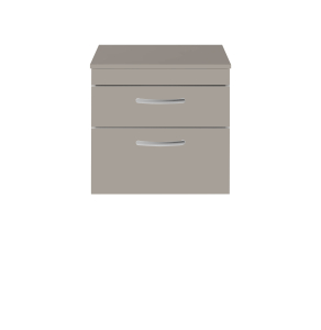 Nuie Athena Stone Grey Contemporary 600 Wall Hung 2-Drawer Vanity With Worktop - ATH049W ATH049W