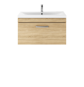 Nuie Athena Natural Oak Contemporary 800 Wall Hung Single Drawer Vanity With Basin 1 - ATH059A ATH059A