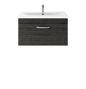 Nuie Athena Hacienda Black Contemporary 800 Wall Hung Single Drawer Vanity With Basin 1 - ATH061A ATH061A