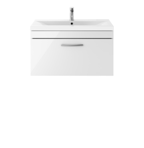 Nuie Athena Gloss White Contemporary 800 Wall Hung Single Drawer Vanity With Basin 1 - ATH062A ATH062A