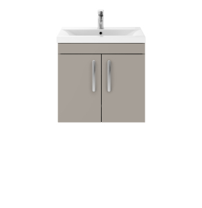 Nuie Athena Stone Grey Contemporary 600mm Wall Hung Cabinet & Basin 2 - ATH090B ATH090B