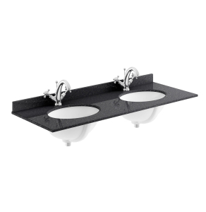 Bayswater Black Marble Top Furniture Double Basin 1200mm Wide 1 Tap Hole BAY1107