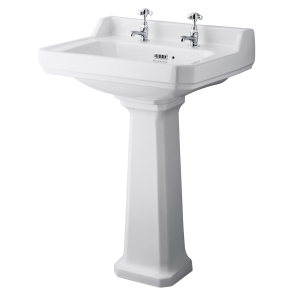 Bayswater Fitzroy Basin with Large Full Pedestal 595mm Wide 2 Tap Hole BAY1019