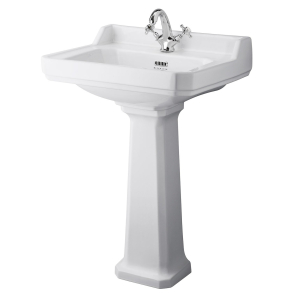 Bayswater Fitzroy Basin with Large Full Pedestal 595mm Wide 1 Tap Hole BAY1020