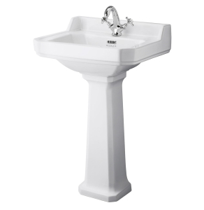 Bayswater Fitzroy Basin with Full Pedestal 560mm Wide 1 Tap Hole BAY1006