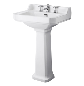 Bayswater Fitzroy Basin with Full Pedestal 560mm Wide 3 Tap Hole BAY1008