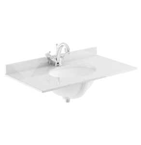 Bayswater Grey Marble Top Furniture Basin 600mm Wide 1 Tap Hole BAY1127