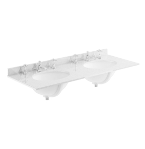 Bayswater Grey Marble Top Furniture Double Basin 1200mm Wide 3 Tap Hole BAY1122