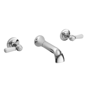 Bayswater Lever Dome 3-Hole Wall Mounted Bath Filler Tap White/Chrome - BAYT409 BAY1206
