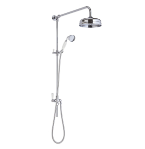 Bayswater Grand Rigid Riser Shower Kit with Fixed Head and Handset White/Chrome BAY1103