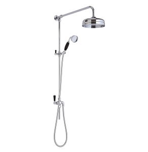 Bayswater Grand Rigid Riser Shower Kit with Fixed Head and Handset Black/Chrome BAY1102