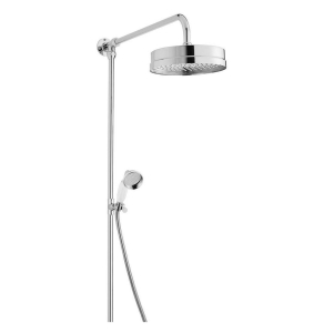 Bayswater Luxury Rigid Riser Shower Kit with Large Fixed Head and Handset Chrome BAY1098