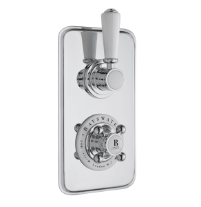 Bayswater Traditional Dual Concealed Shower Valve White/Chrome BAY1095