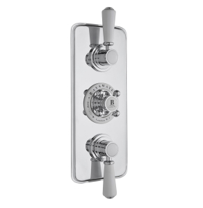 Bayswater Traditional Triple Concealed Shower Valve White/Chrome BAY1094